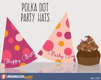 Polka Dot Birthday PRINTABLE Party Hats / Party Printables / Polka Dot Decorations Girl's Birthday Printables Set / Purple & Pink / No. 012