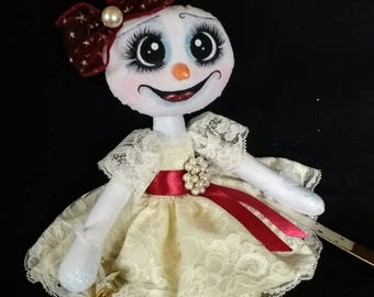 Pearl the Snowgirl Handmade Art Doll