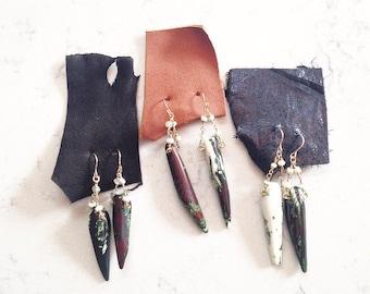 Moss agate point earrings
