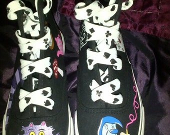 Alice in Wonderland Inspired Hand Painted Converse Style Canvas shoes. Featuring Cheshire Cat