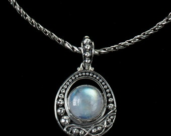 Rainbow Moonstone Balinese Necklace, Sterling Silver Moonstone Necklace, Silver Moonstone Pendant, Rainbow Moonstone Pendant: VALERIE