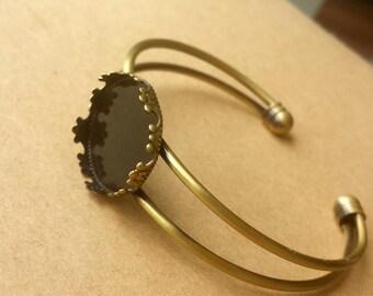 2PCS Brass Antique Bronzed Bracelet with 20mm Round Pad Cabochon Setting BLB05