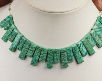 22 piece faceted AMAZONITE rectangle beads 4 x 7 x 14.5 -- 4.5 x 7 x 24 mm
