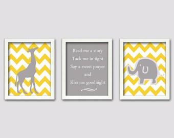Elephant and Giraffe Art, Grey and Yellow Nursery, Set of 3, 8X10, Nursery Art, Childrens Room Art, Kids Room Decor