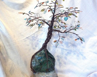 unravel - assemblage sculpture with piano wire, glass, resin, and cement - tree art