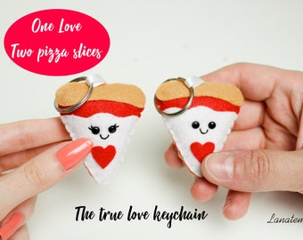 Best friend keychain, food keychain, friendship keychain personalized keychain pizza lover Lgbt Couple Gifts 1 year anniversary gift for him