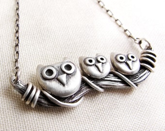 Owl necklace, sterling silver owl jewelry, mother's day gift, Owl family necklace, gift for mom, wife gift