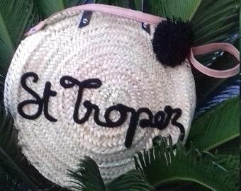 XL Tote knitting text round straw basket