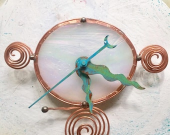 Small wall clock, wee clock, white glass clock, mini clock, glass, copper, iridized glass
