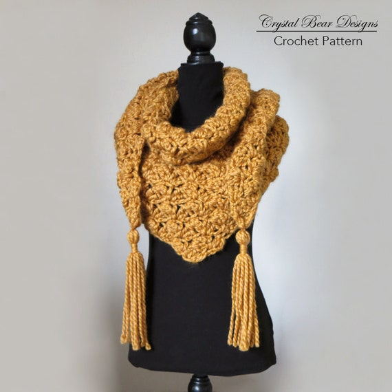 Chunky Shawl Crochet Pattern Elongated Triangle Scarf