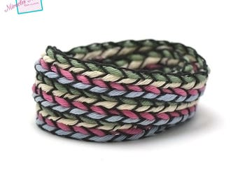 1 m strap braided with 12 mm 008 multicolor cotton yarn