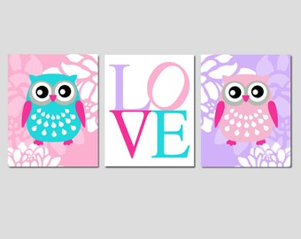 Floral Owl Love Floral Trio - Set of Three 8x10 Prints - Kids Wall Art - Nursery Decor - CHOOSE YOUR COLORS