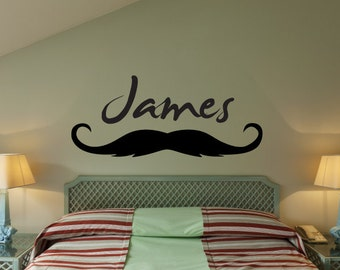 Custom Personalized Name & Thin Mustache Wall Decal sticker decor 02