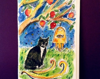 Pomegranates, Tuxedo Cat and Chamsa, Bar Mitzvah Card, Bat Mitzvah Card, Jewish Wedding Card, Hand Painted Card, Cat Lover, Original Judaica