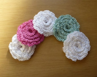 Hand made crochet cotton flower design facial scrubbies. Set of five.