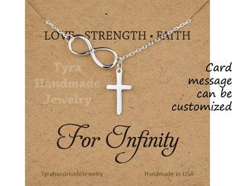 Sterling silver Sideways infinity cross necklace,Infinity cross Lariat,Blessed faith necklace,best friend gift,godmother gift,custom note