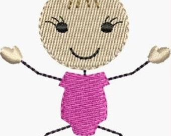 Mini stick figure baby girl machine embroidery designs