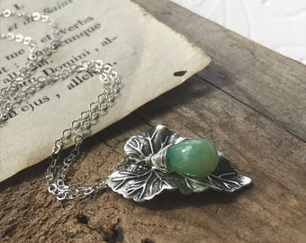 Ivy Leaf Necklace With Green Opal Antique Silver Nature October Birthstone Gifts Under 50 Art Nouveau Gemstone Bridesmaid Jewelry