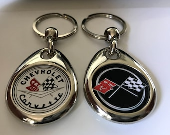 CORVETTE KEYCHAIN FOB 2 pack double sided mix set