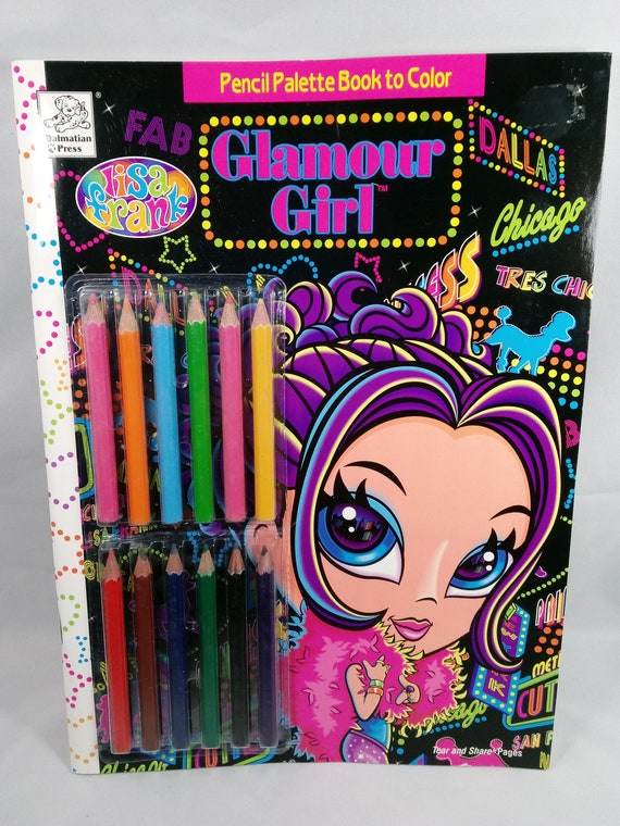 LISA FRANK: Glamour Girl Pencil Palette Book to Color with