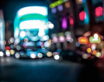 Colourful bokeh of piccadilly circus at midnight, london out of focus photography shot