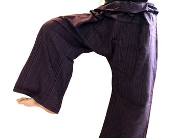 Thai Fisherman Pants Yoga Free Size Cotton Aubergine Free time Relex on the Sea Karate