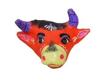 Mexican Paper Mache Bull Animal Mask Hand Painted
