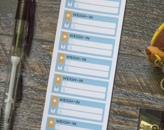 Weigh-In Stickers for Weekly Planner / Matte & Writeable
