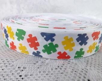 Autism Ribbon 7/8 inch grosgrain ribbon Autism puzzle Ribbon grosgrain ribbon