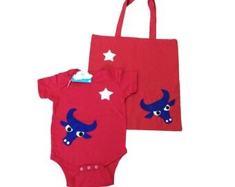 Longhorn Gift Set - Red Baby Bodysuit & Tote Bag - We Love Texas!