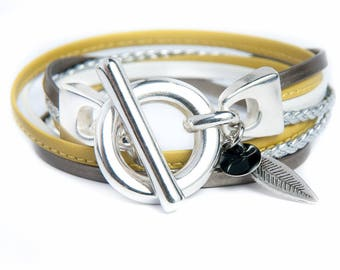 Leather Bracelet double turn bronze mustard Silver buckle closure silver braid