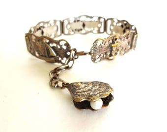 Vintage French Silver Filigree Nautical / Beach / Resort / Seaside Souvenir Bracelet