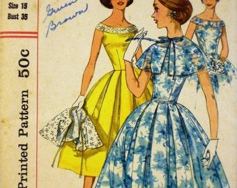 Vintage 1950s Bateau Neck Dress Pattern Simplicity 2026 Bust 34 35 Capelet Pattern