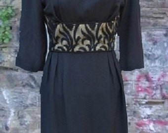 VINTAGE 1950s BLACK CREPE  Long Sleeve Dress