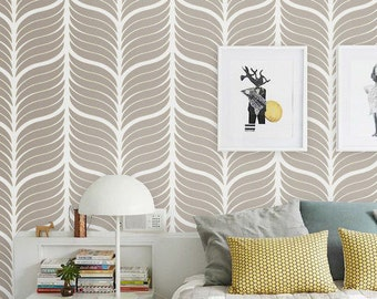 Leaf pattern removable wallpaper - Self adhesive vinyl wallpaper -  wall decal - 114 SNOW/ GRAVEL