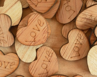 "100 Love 1"" Wood Hearts, Wood Confetti Engraved Love Hearts, Rustic Wedding Decor, Table Decorations, Small Wooden Hearts"