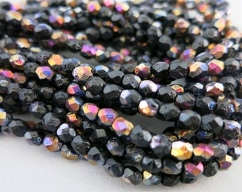 4mm Dark Embers Czech Beads, Faceted Etched Glass, Czech Glass, Strand of 50