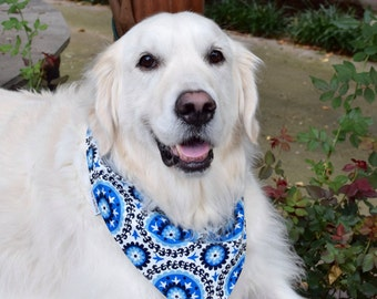 Personalized Dog Bandana | Reversible Blues Black White Pet Bandanas | Best Cutom Puppy Dog G\ifts by Three Spoiled Dogs