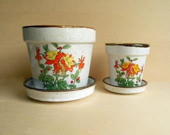 vintage cactus planter with dishes set of 2 / ceramic / Japan / 1970s