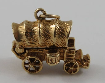 Covered Wagon Mechanical 14K Gold Vintage Charm For Bracelet