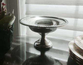 Footed Sterling Silver Bowl - Mid Century Pedestal Compote, Serving Dish
