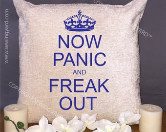 """Luxury Personalised 18"""" Chenille Cushion & Pad Now Panic AND Freak Out (Keep Calm Cushion) Free UK Delivery"""