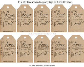 Digital download,candy buffet tags,favour tags, favor tags, love is sweet take a treat tags, printable tags, postcard tags