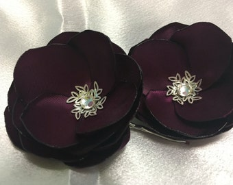 Set Of Two Purple Flower Hair Pins