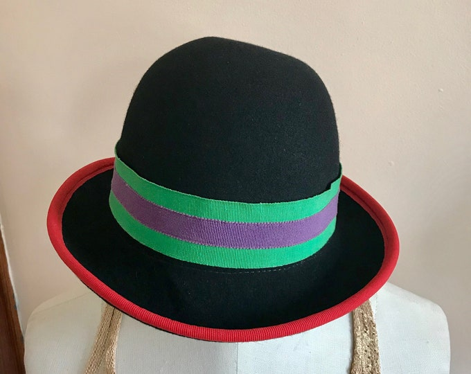 Featured listing image: 80s Hat, Derby, Bucket Hat, Hipster, 1980s, Black, Red, Green, Purple, Annie Hall, Womens Vintage, Vintage Hat
