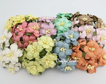 15 Variations Listing Paper Flowers for Baskets Scrapbooks Wedding Faux Cupcake Cards Dolls Crafts Pastel 426/zS4