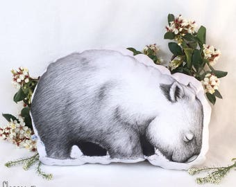 Wombat Stuffie, Medium Size. Australian Animal Softie, Plush Soft Toy. Illustration by flossy-p. White and gold back.