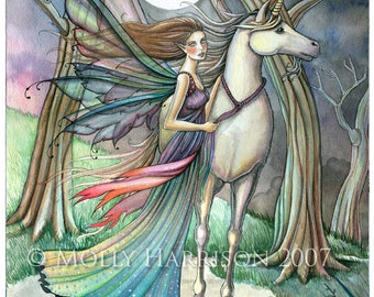 Unicorn and Fairy Fantasy Fine Art Print by Molly Harrison 'Forest of Dreams' 8 x 10 Giclee