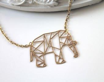 Golden elephant necklace fantasy filigree geometric