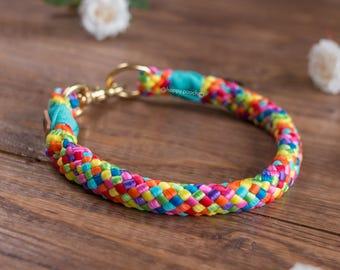 Lollipop dog collar, Rainbow collar, colorful, Rope dog collar, Custom dog collar, Round braid dog collar, Mold & Rot resistant dog collar